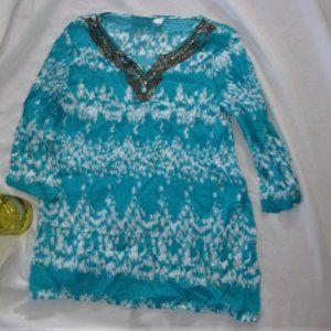 💝4/$15 Chicos small womens  tunic top shirt blue